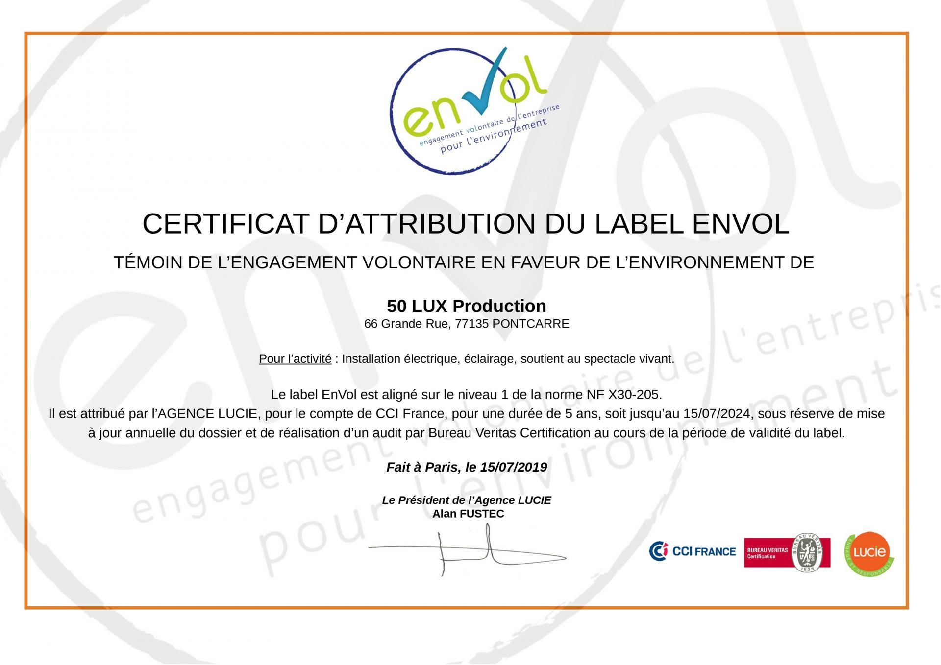 50 LUX Production labellisé ENVOL
